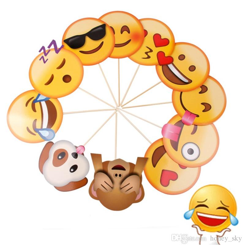 Cute Emoji Photo Booth Props Funny Birthday Party Decoration