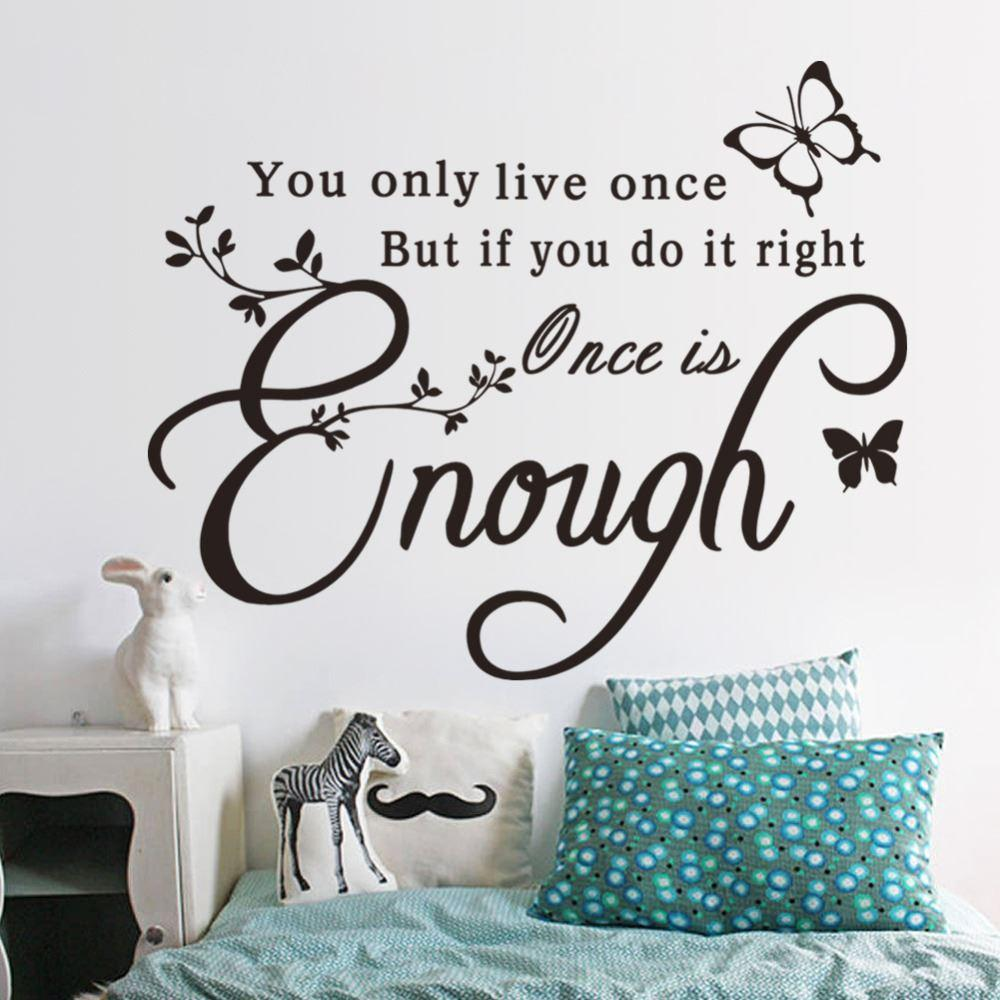 Once is enough creative quotes butterfly wall sticker see larger image amipublicfo Image collections