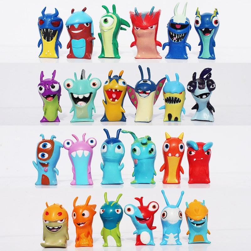Slugterra PVC Dolls 24Pcs/set 4-5cm Cartoon Slugterra 2 Action Figures PVC Plastic Dolls Toys Gift For Christmas Gift Free Shipping