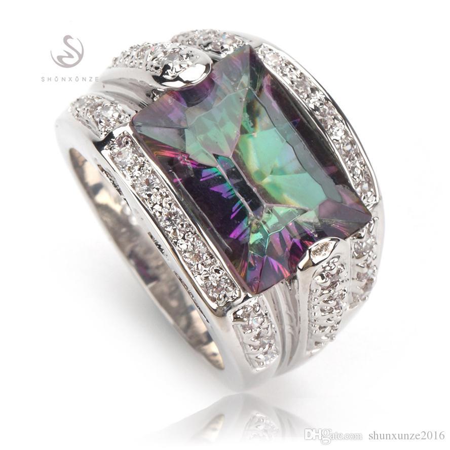 Edle großzügige MNSz # 6 7 8 9 Phantasie Rainbow Fire Mystic Zirkonia Vintage Kupfer rhodiniert Herz Set Ring / Ohrring / Anhänger