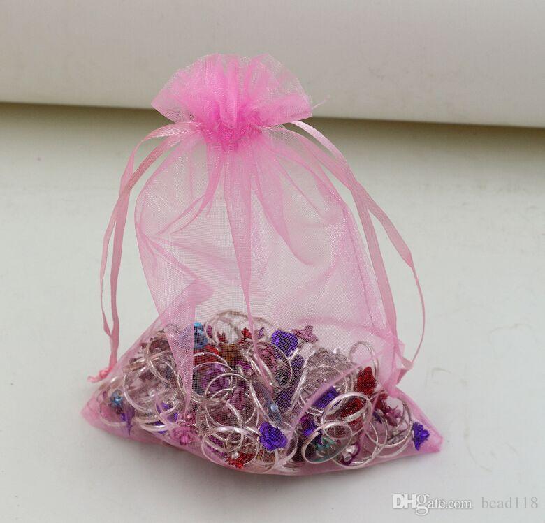 Varmförsäljning! 100st / massor rosa med dragsko Organza Smycken Presentpåse Väskor för bröllop Favoriter Pärlor Smycken 7x9cm, 9x11 cm .13x18 cm etc.