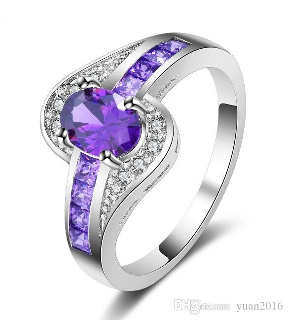 2018 Wedding Ring Classic Design Platinum Plated Purple Simulated