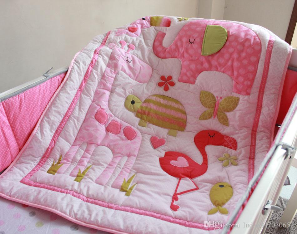girl baby bedding set Three-dimensional embroidery The home of flamingos quilt bedskirt Mattress Cover bumper children bedding set