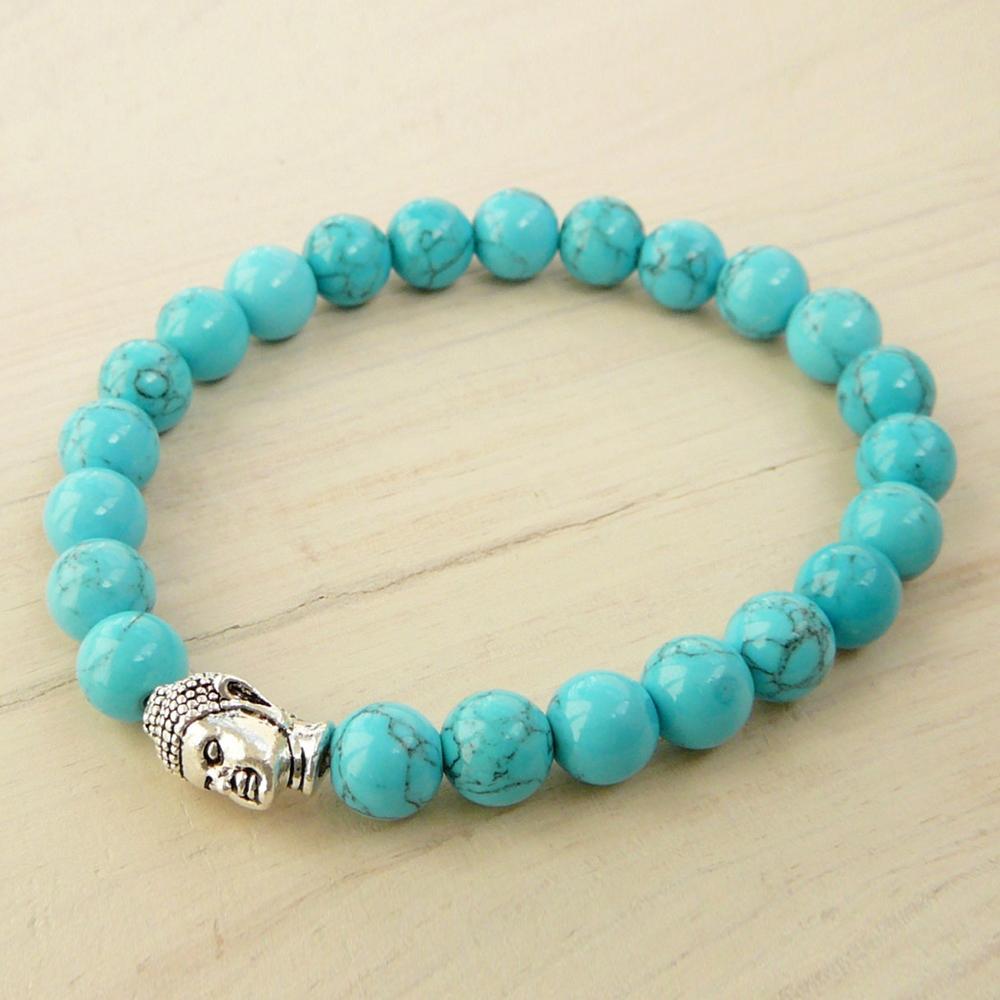 SN0254 Nieuwste Design Turquoise Howliet Armband Bead Armband Mens Boeddha Armband Trendy Geschenken Voor hem Gratis Verzending