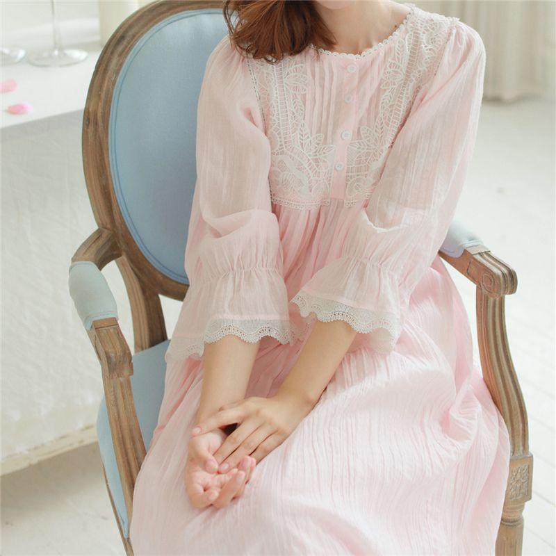 Wholesale- Autumn Vintage Nightgowns Long Lace Home Dress Cotton ...
