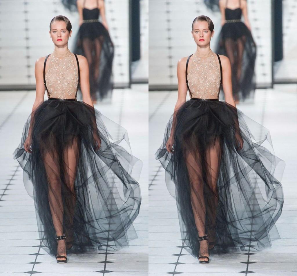 Volants Puffy Sexy Noir Maxi Jupes Jupes Longueur Etage Solide pour les Femmes Hot Mode À La Mode Robes De Cocktail Party Tutu Tulle Jupe