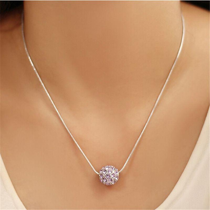 16395ae22af3 Cristal austriaco de Swarovski Ronda Crystal Ball Necklace colgante para  mujer 18K Oro blanco plateado Famous Brand Jewelry 5927
