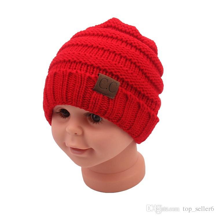 Mode Baby Winter Hüte Kinder Strickmütze CC Label Infant Newborn Beanie Kinder Jungen Mädchen Winter Warme Wolle Strickmützen Caps