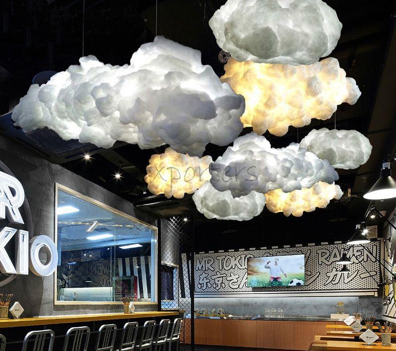똑똑한 창조적 인 낭만주의 흰 구름 펀 던트 빛은 번개 효력 램프 백색 연약한 뜨면 구름 거는 빛 샹들리에를지도했습니다
