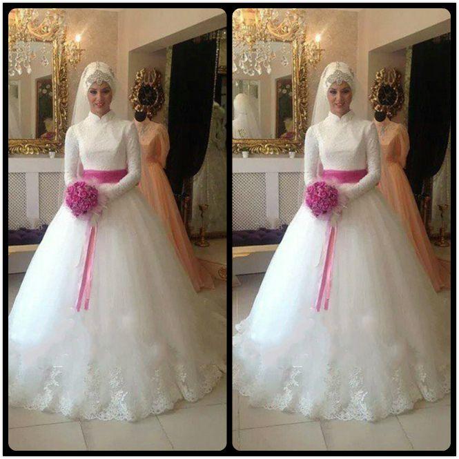 2016 Lace Wedding Dresses Elegant High Neck Long Sleeve Muslim Wedding Dress With Fuchsia Ribbon Bridal Dresses For Bride Custom