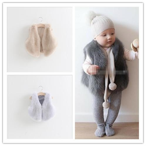 c41282e5c Baby Girls Faux Fur Vest Fox Fur Waistcoat Jacket 2015 Autumn Winter ...