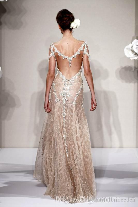 New Arrival Pnina Tornai A-Line Wedding Dresses Bridal Gown With Sheer Straps V-Neck Backless Crystal Lace Ruched Floor Length