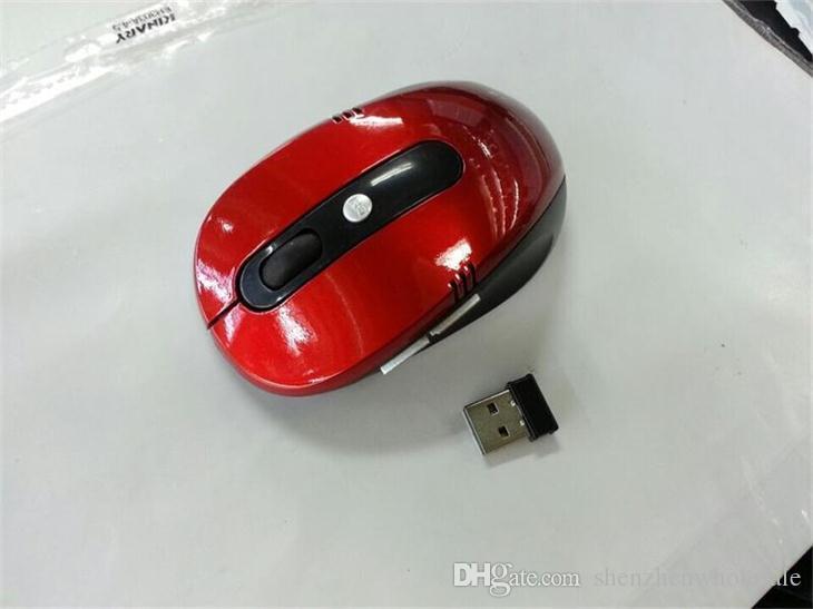 Hot Sell 2.4g 10m USB Bezprzewodowa mysz optyczna do komputera PC Laptop Czerwony / Czarny / Niebieski Z Pakietem Detalicznym, Darmowa Wysyłka