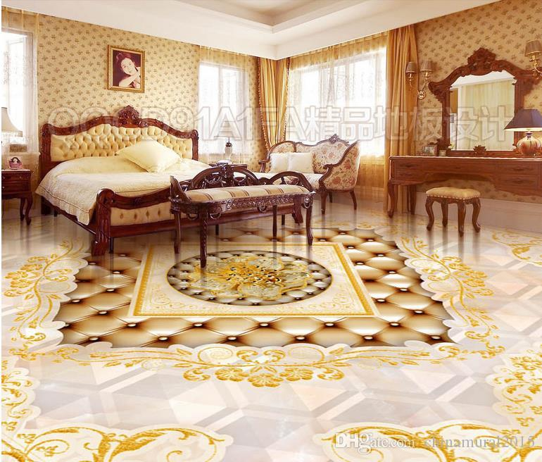 3d flooring for living room and bedroom Golden Need luxury European royal style HD water roses