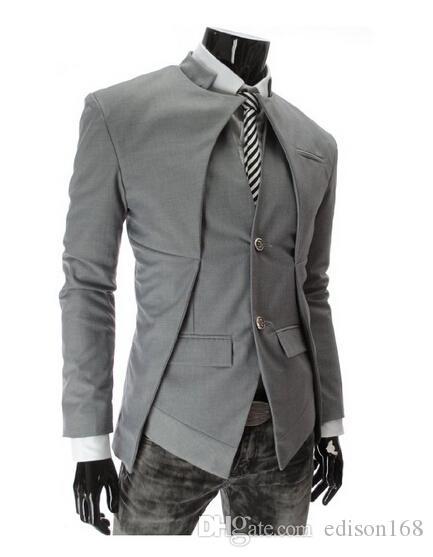 Heißer Verkauf Zwei Knopf unsymmetrische Männer Freizeitjacken Slim Fit Baumwollmantelanzug Mann Outwear X309