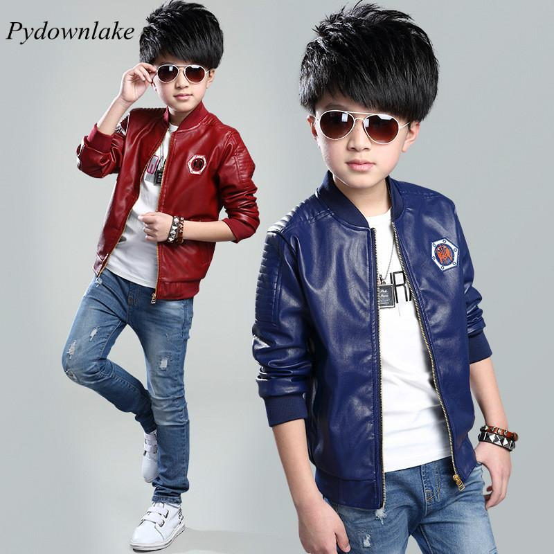 6d8433abe8f8 Boy PU Leather Jacket 2017 New Fashion Spring Children Jacket Zipper  Embroidery Boys Trendy Coat For 3 12 Year Casual Trench Clothing Boys  Outerwear Jackets ...