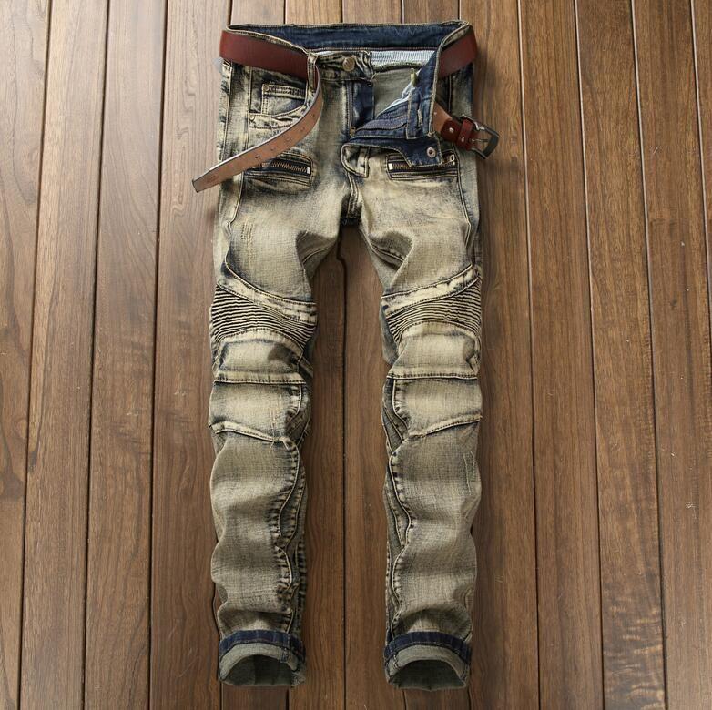 a8e1b7977f5 Acquista Moda Jeans Pantaloni Streetwear Uomo Strappato Jeans Da  Motociclista Homme Moto Slim Fit Moto Strech Pantaloni Denim Pantaloni Da Uomo  Skinny Jeans ...