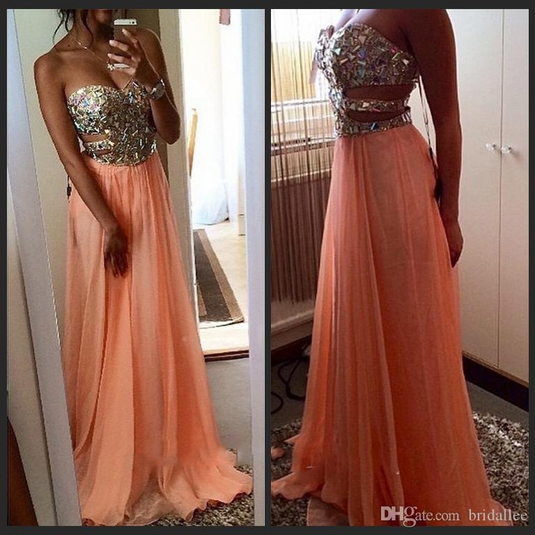 Prom Dresses 2016 Vestidos Festa Longo Sexy Side Cut Outs Sequins And Beaded Sweetheart Long Chiffon Coral