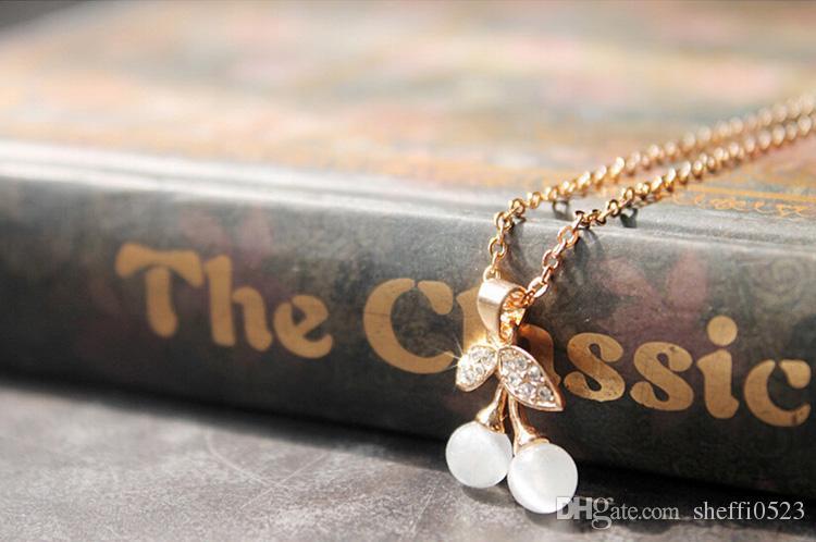 Newest Model Cherry Necklace Earrings Sets Flower Fashion Crystal Jewelry Set Women Wedding Jewelry sets 5626