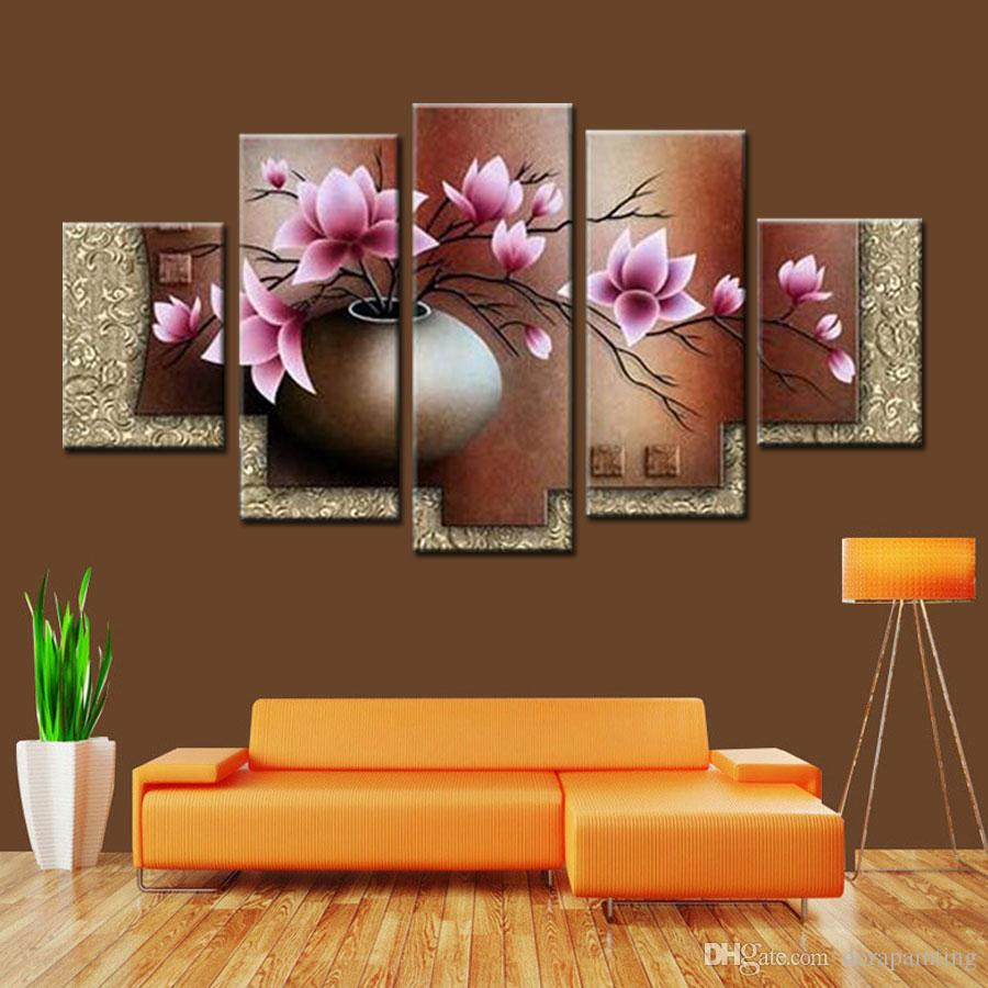 5 Peça Wall Art Decor Imagem Set Pintado À Mão Abstrata Moderna Rosa Flores em vaso de Pintura A Óleo Sobre Tela Paisagem Venda Sem Moldura