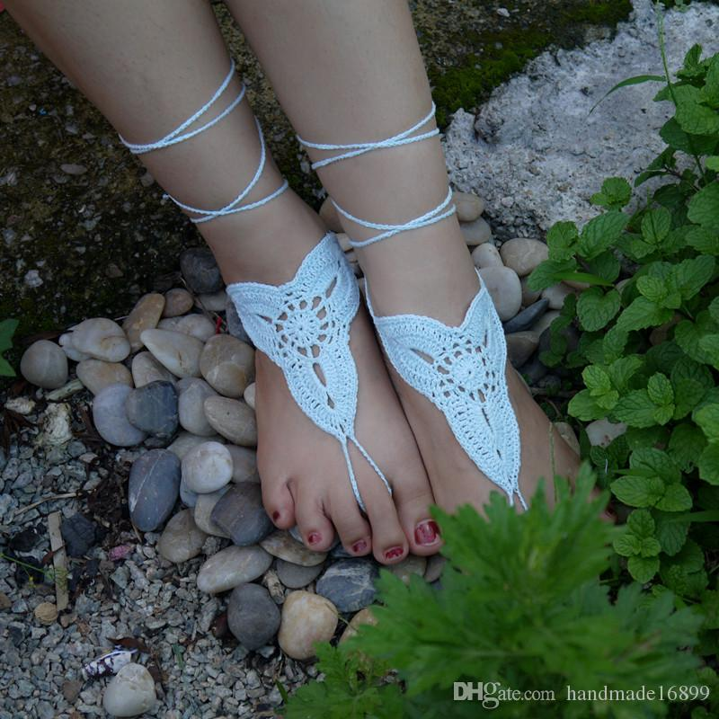 5d3b5bbf592a Crochet White Flower Barefoot Sandal Crochet Shoes Sandal