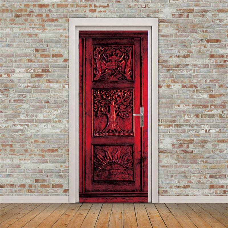 Delicieux 3d Red Door Pattern Door Wall Stickers Diy Mural Bedroom Home Decor Poster  Pvc Waterproof Door Sticker 77x200cm Wall Decals Art Wall Decals Canada  From ...