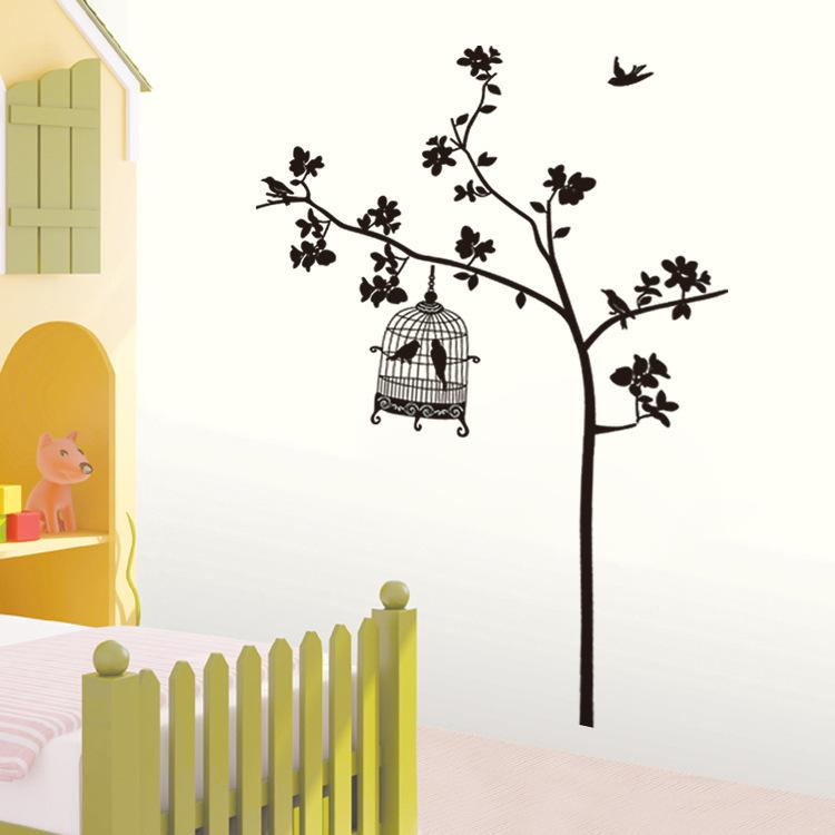 JM7026 Free Shipping Removable Wall Stickers Tree And Bird Cage Living Room  TV Decor Sticker Drawing Paper