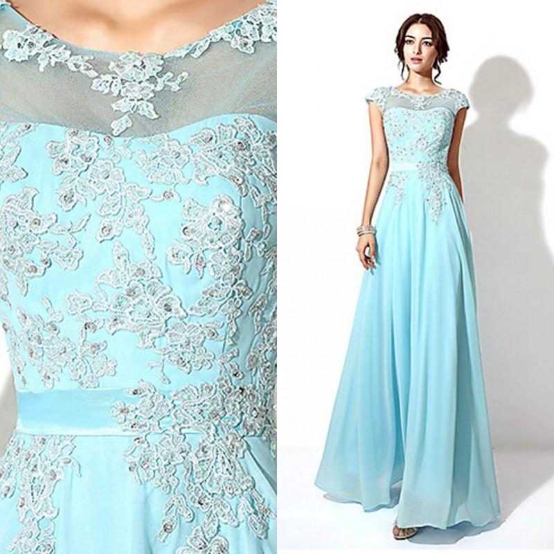 2015 Long Prom Dresses Cheap Lace Appliques Chiffon Long Formal ...