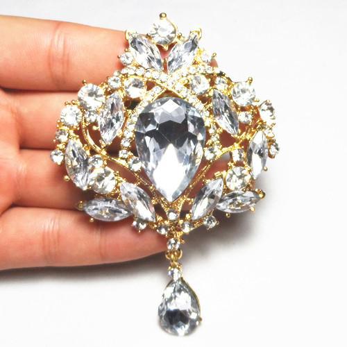 4 Pulgadas Gran Gota de Agua de Cristal de Calidad Superior Gold Tone Drop Broche Exquisito Gran Diamante Broche de Joyería de Cristal Grande de Las Mujeres broche