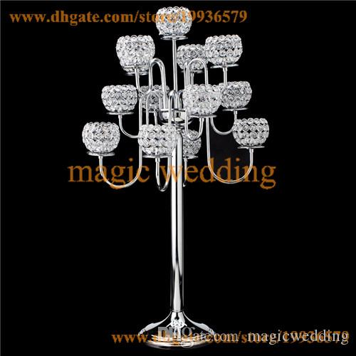 "CRYSTAL BEADED 13 ARM GOLD OR SILVER PRESTIGE GLOBE CANDELABRA - 38"" TALL FLOOR CANDELABARA"