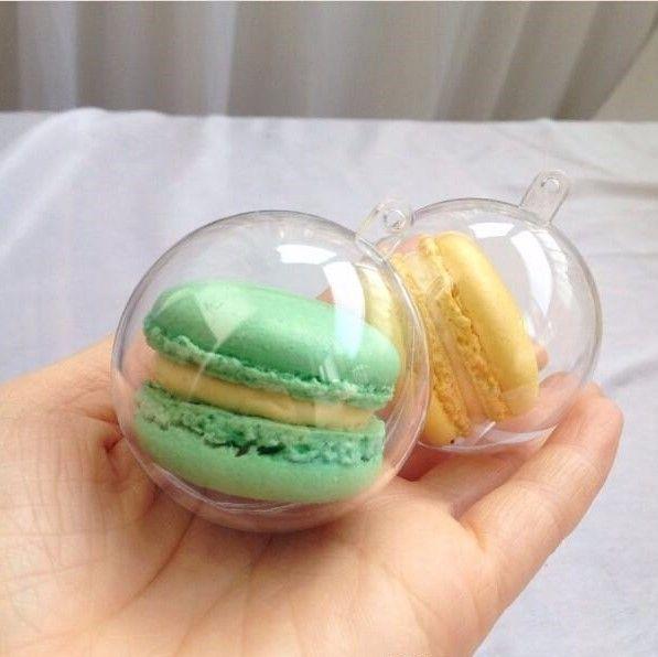 Bola de Macaron de 5 cm de diámetro Bola hueca de plástico Caja transparente transparente de Macaron Caja de bolas de pastel con agujero para colgar 1500 piezas