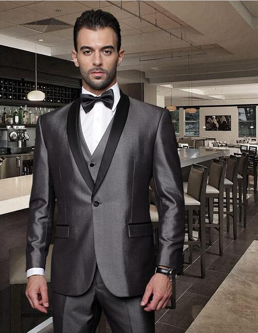 Custom Made Grey Groom Suits Black Lapel One Button Mens Tuxedos ...