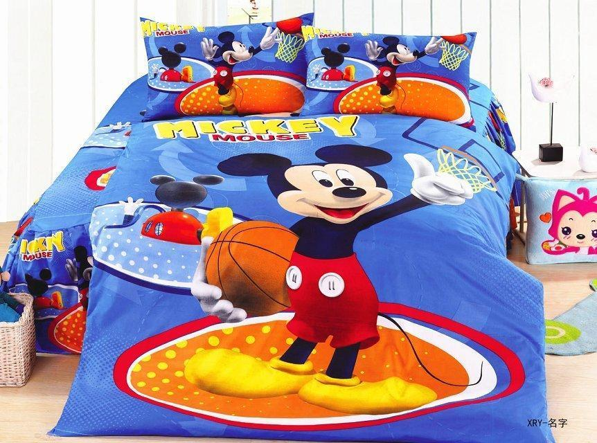 Basketball Mickey Mouse Blue Bedding Bedspreads For Single