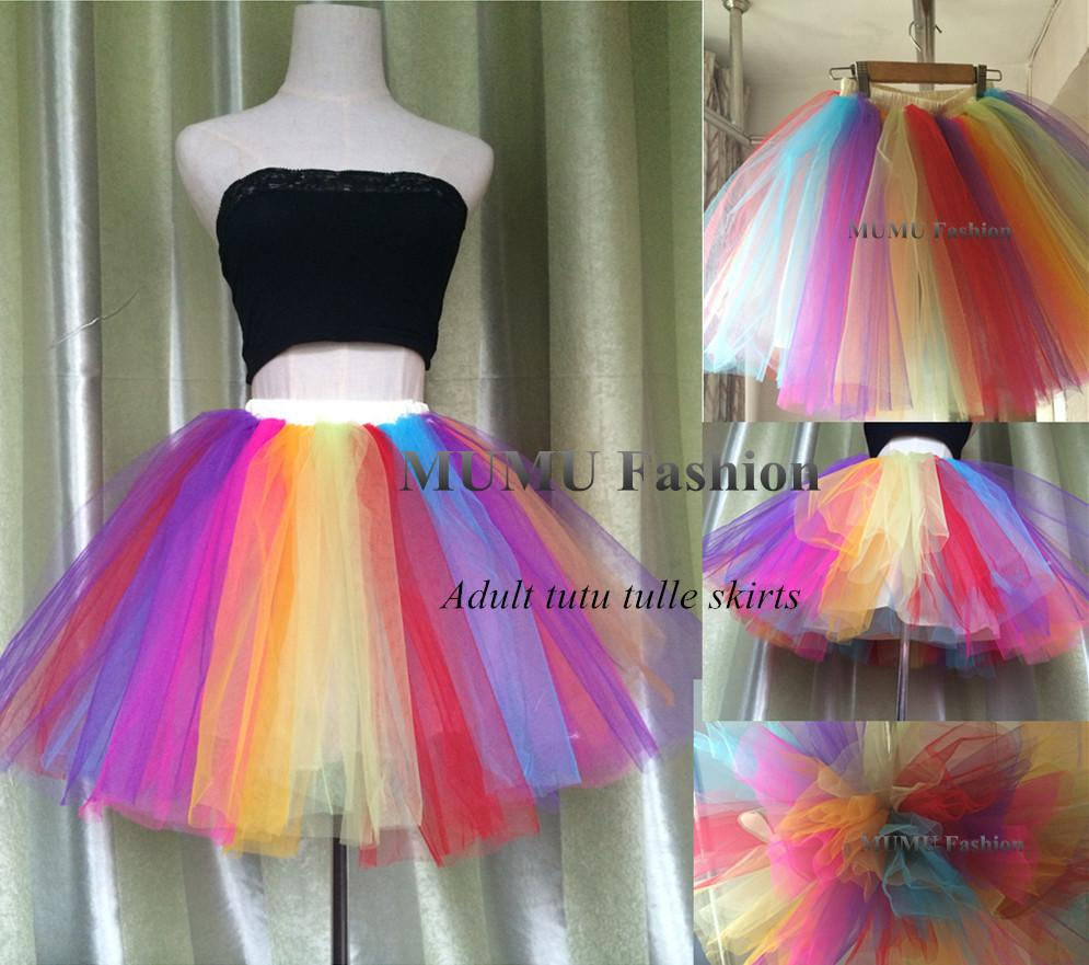 2018 Puffy Rainbow Tutu Tulle Skirt Adult 38cm Short Mini Mesh Skater Colorful Women Party Stage Cosplay Dance Wear From Mumufashion 2212