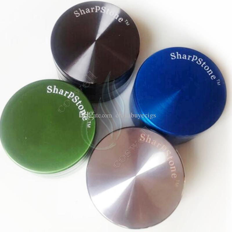 Metallkräutermühle Sharp Stone 4 Teile 50mm Kräuter-CNC-Zähne Kräuter-Filter-Netz trockene Kräuter Verdampfer Stift Verdampfer Dampf e Zigaretten DHL-frei