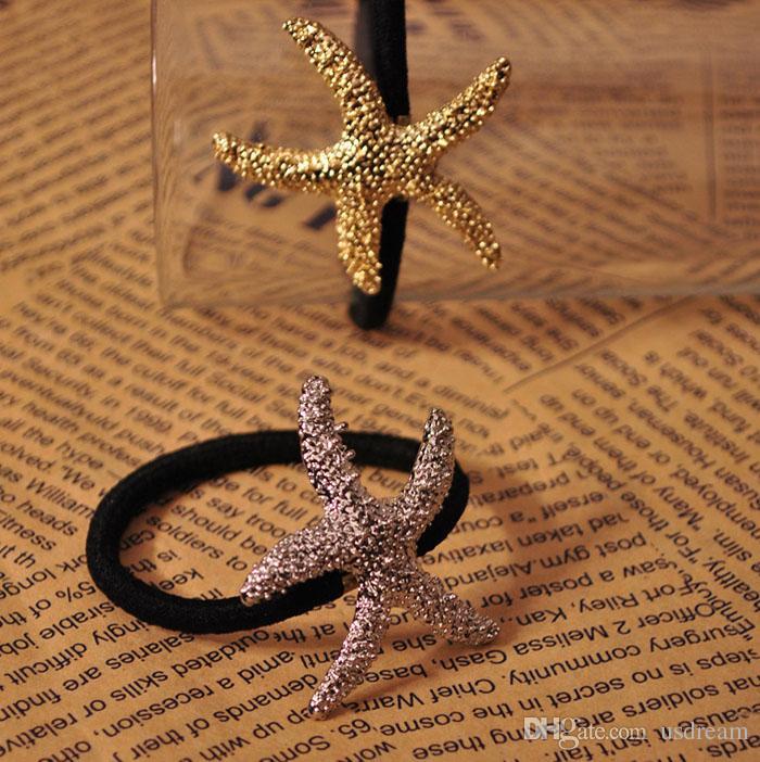 Мода Морская звезда звезда пони хвосты держатель резинки манжеты для женщин дети золото серебро пятиконечная звезда украшения для волос головной убор 170055
