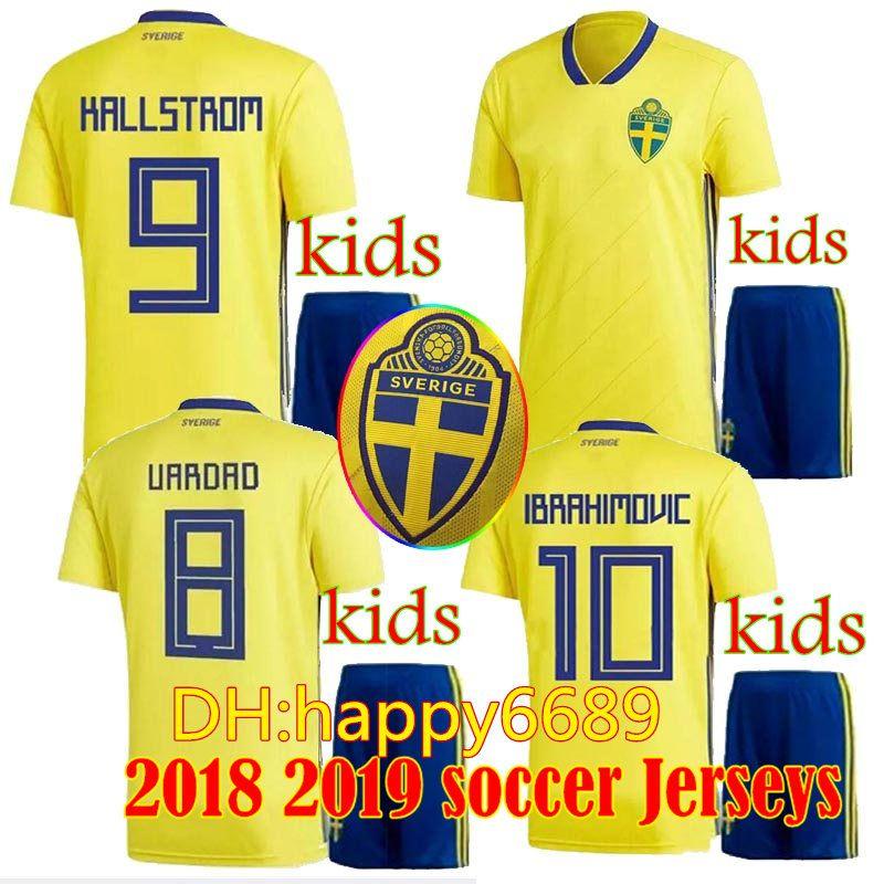 Sweden Kids Kit Shirt 2018 Home Soccer Jersey Kits Zlatan