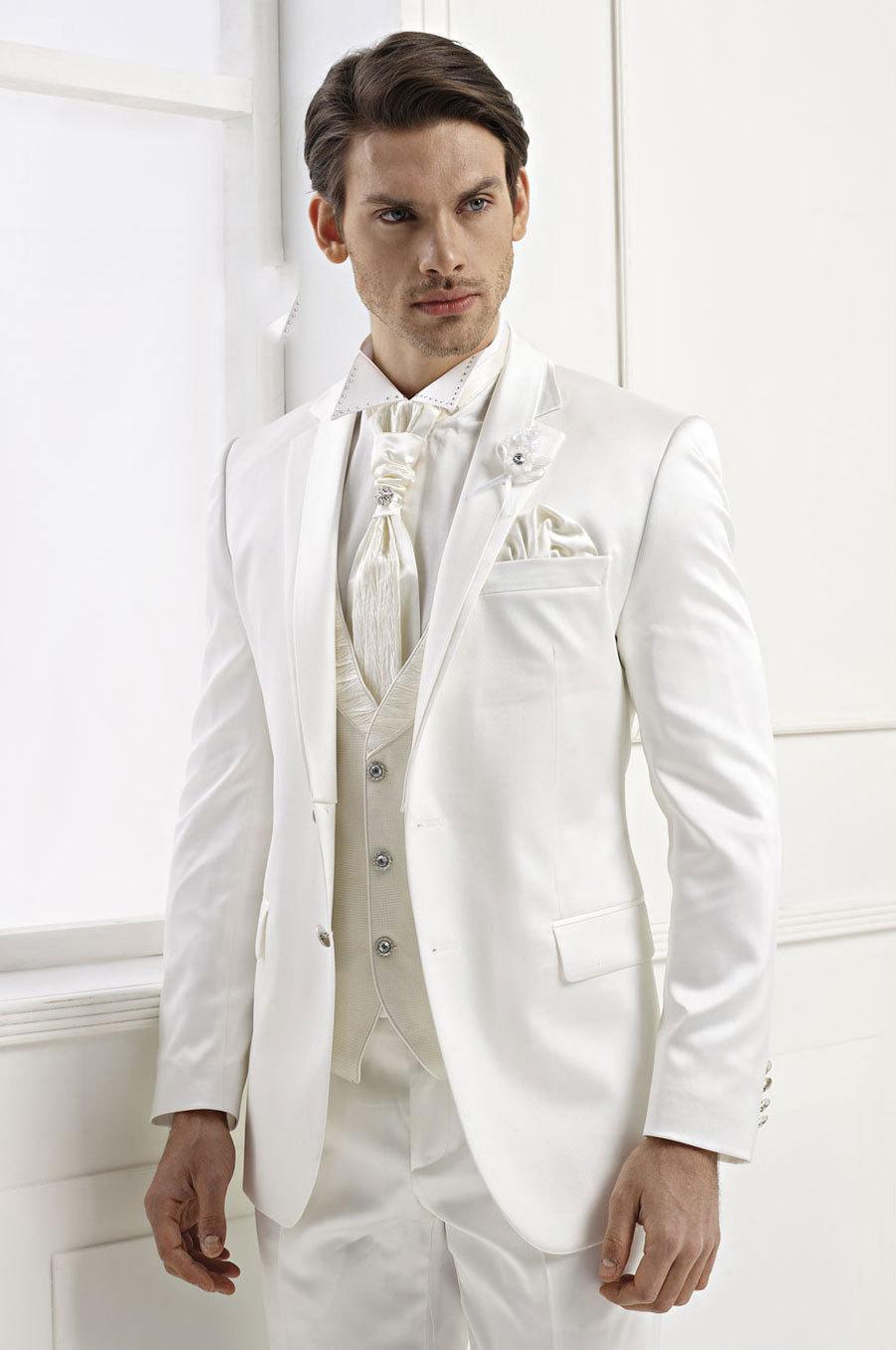 잘 생긴 남자 정장 남자를위한 간단한 화이트 맞춤형 결혼식 정장 신랑 Groomsmen 턱시도 망 결혼식 정장 자켓 + 바지 + 조끼
