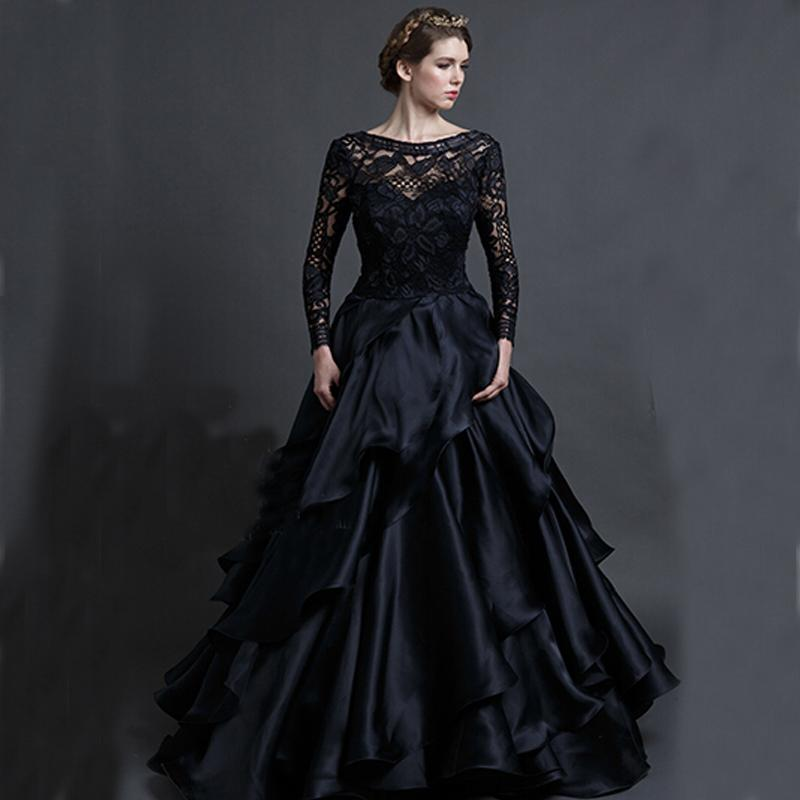 Vintage Black Wedding Gowns Sareh Nouri 2016 Gothic Long Sleeved Bridal Dresses Sheer Illusion Sleeves Backless Ruffles Train Prom Dress Gown