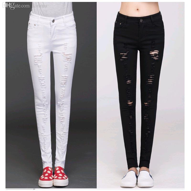 2017 Wholesale Ripped Jeans Girl Capris Women Sexy Skinny Jeans ...