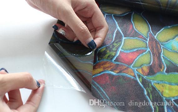 Adesivi vetri in vetro occhiali da sole fashion flower senza colla Carta vinilica decalcomanie colorata in vinile 45 * 100cm