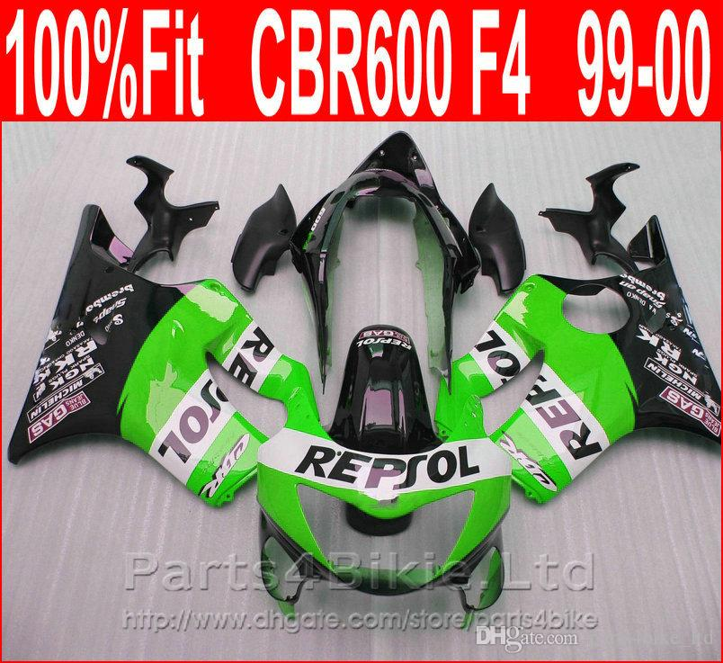 Perfect green REPSOL Fitment Body parts for Honda CBR 600 F4 custom  fairings 1999 2000 fairing kit CBR600 F4 99 00 PCAT