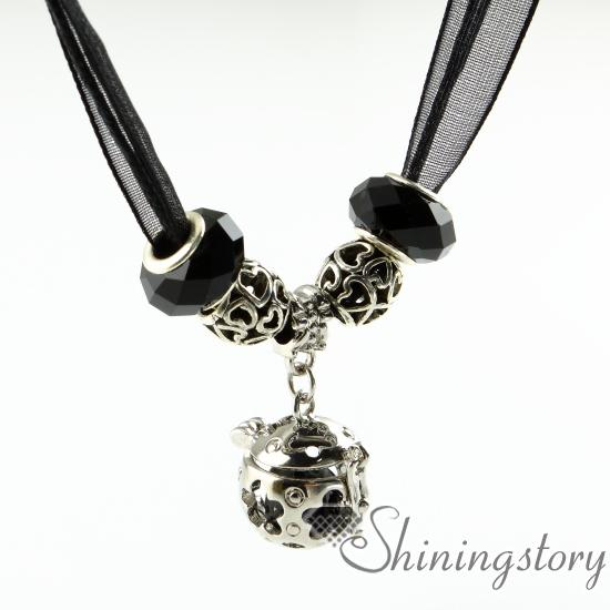 openwork flower organza necklaces essential oil necklace wholesale aromatherapy necklace aroma jewelry natural lava stone oil diffuser jewel