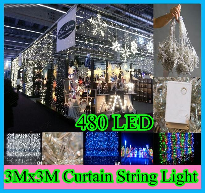 110v220v 3mx3m 480leds led lighting curtain led string waterfall led light background light christmas light party led light - Waterfall Christmas Lights