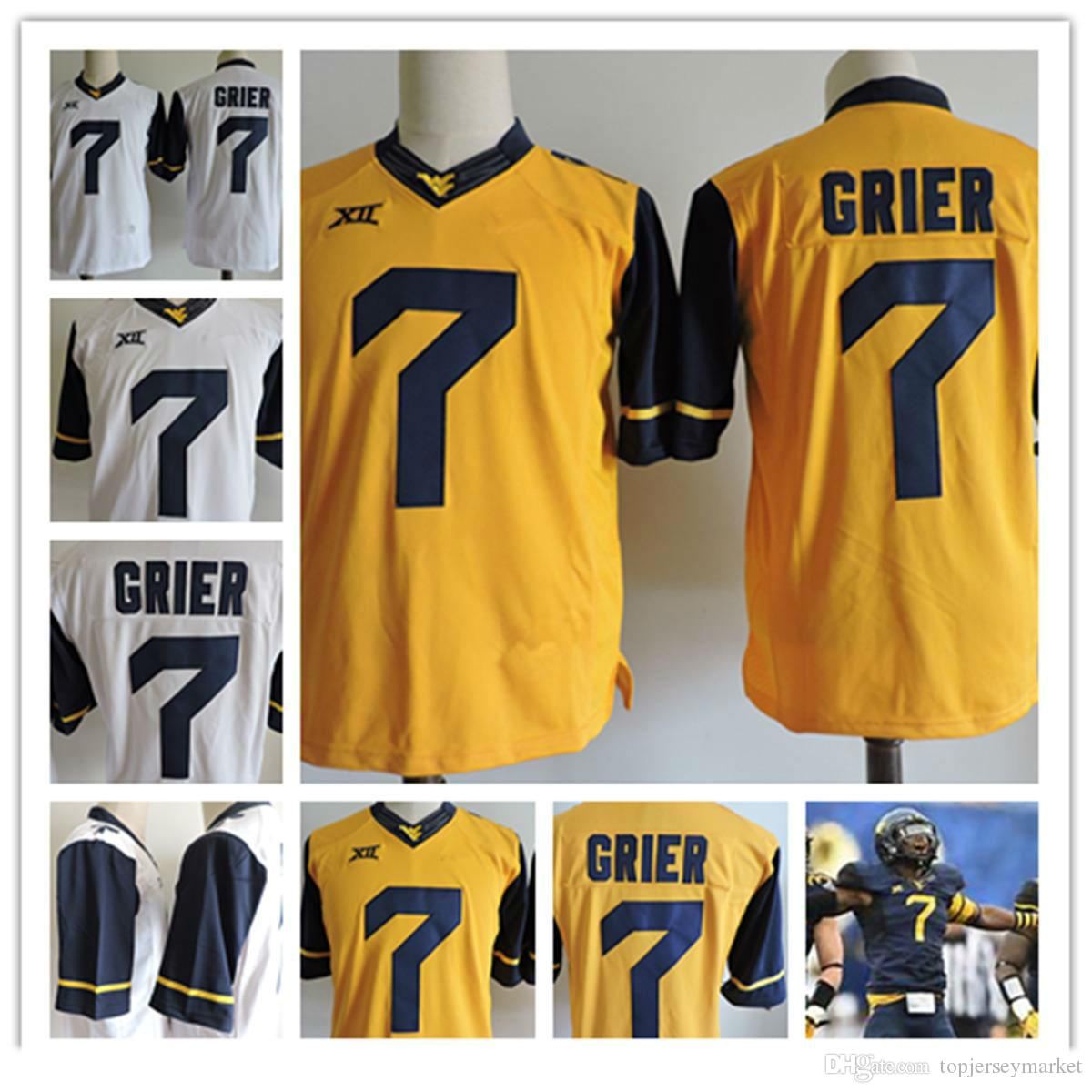best cheap 38bc8 14de8 Mens Montañeses de Virginia Occidental Will Grier camisetas de fútbol  universitario Stithced # 7 Will Grier NCAA XII West Virginia Mountaineers  Jersey ...