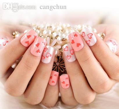Wholesale Cute Girl Fake Nail Full Cover False Pink Heart Acrylic Tips Home Use Finger Nails Short With Glue Stickers Young Natural