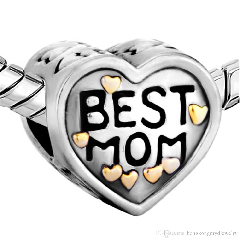 Metal Slider Best Mom Mother Big Hole European Spacer Bead Fit Pandora Chamilia Biagi Charm Bracelet
