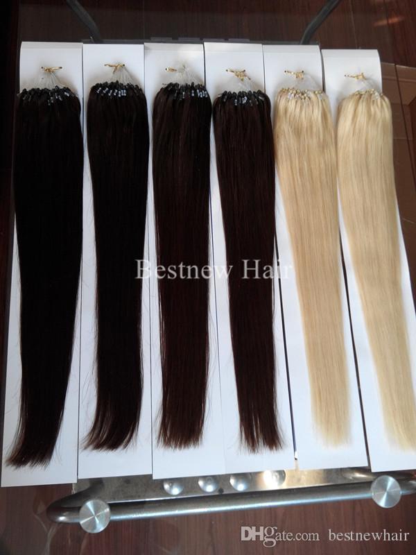 Inidan Remy первоклассный Micro Ring / Loop 100% человеческих волос 18