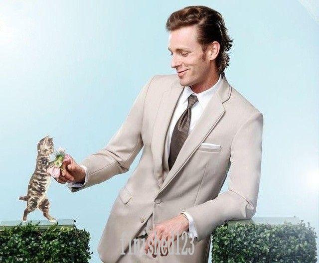 New Arrivals Two Button Beige Groom Tuxedos Notch Lapel Groomsmen Best Man Wedding Prom Dinner Suits Jacket+Pants+Vest+Tie G5140