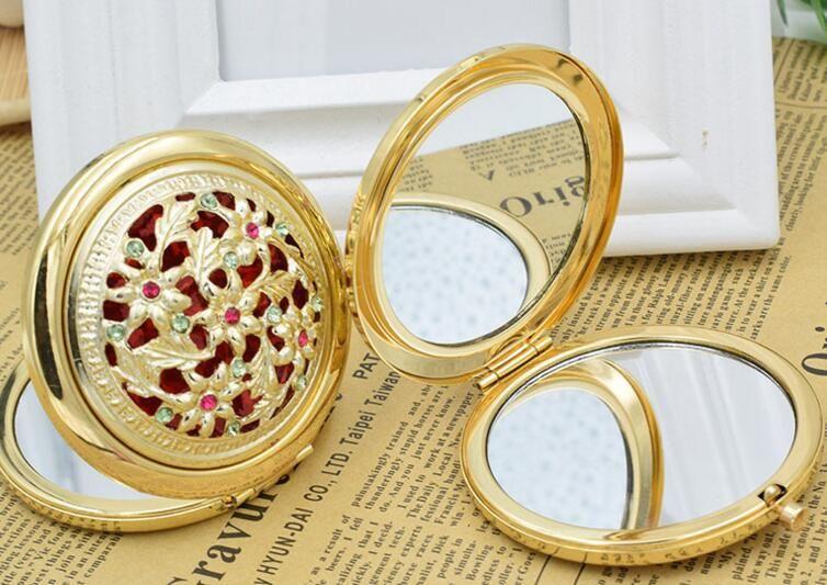 Chic Retro Vintage Altın Metal Cep Aynası Kompakt Kozmetik Retro Aynalar Kristal Çivili Taşınabilir Makyaj Güzellik Araçları